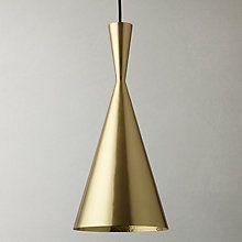Buy Tom Dixon Brushed Tall Beat Pendant Light, Brass Online at johnlewis.com