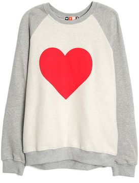 MSGM Heart Print Sweatshirt on shopstyle.com