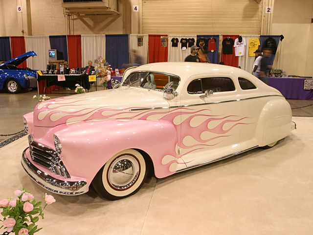 Custom Hotrod White Body Pink Flames Driver Side Front View