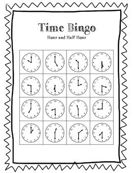 Telling Time Bingo Game (to the hour and half hour