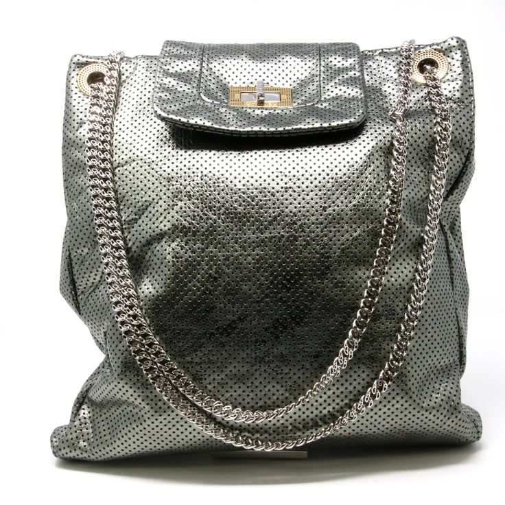 Chanel Signature 2014 CoCo Perforated Lambskin Cross Body Silver Tote Bag
