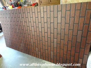 Brick paneling at Lowes.  use black caulk on seams and notch out half bricks to fit pieces together