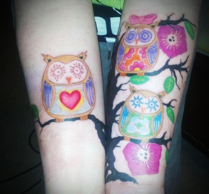 My tattoo i got for my children one on the top right is for Owl heart tattoo
