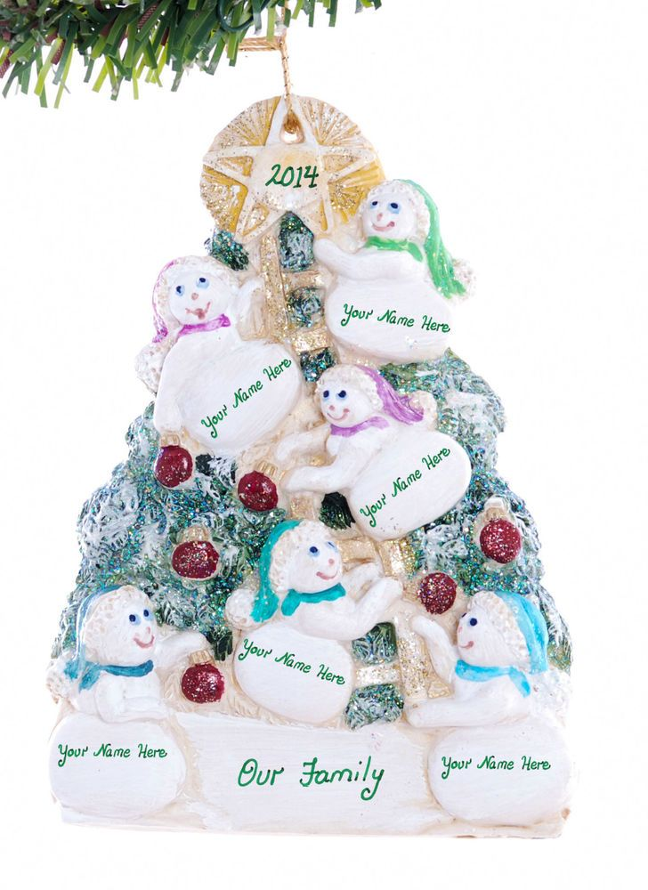Snowmen tree personalized ornament for a family or group of six USA made (F47)