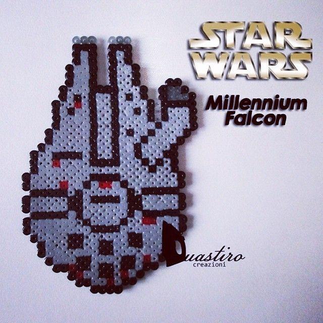 Millennium Falcon Star Wars perler beads by duastin_toyland