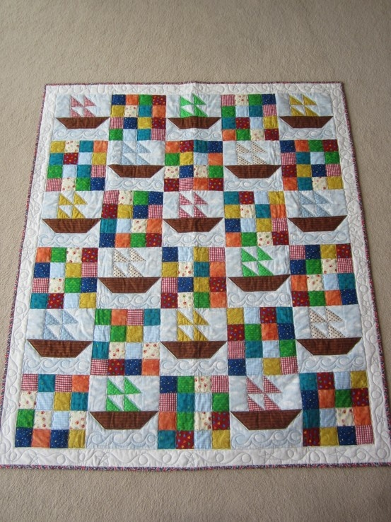 My 2nd Quilt - Boats - Made for my future Godson Zac.
