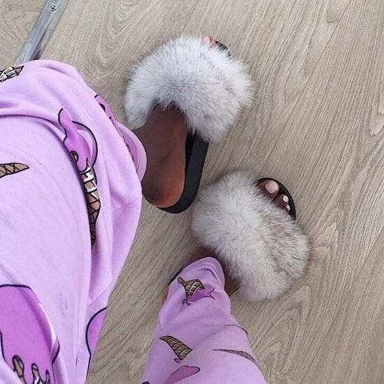 Fluffy it is!  Outdoor - Indoor fur slides!  👉🏻 @chloekitembo 👉🏻 hauteacorn.com .  .  #furslides #fluffyslides #furshoes #fursandals #furflipflops #slides #furslippers #slippers #sandals #shoes #indoor #outdoor #realfur