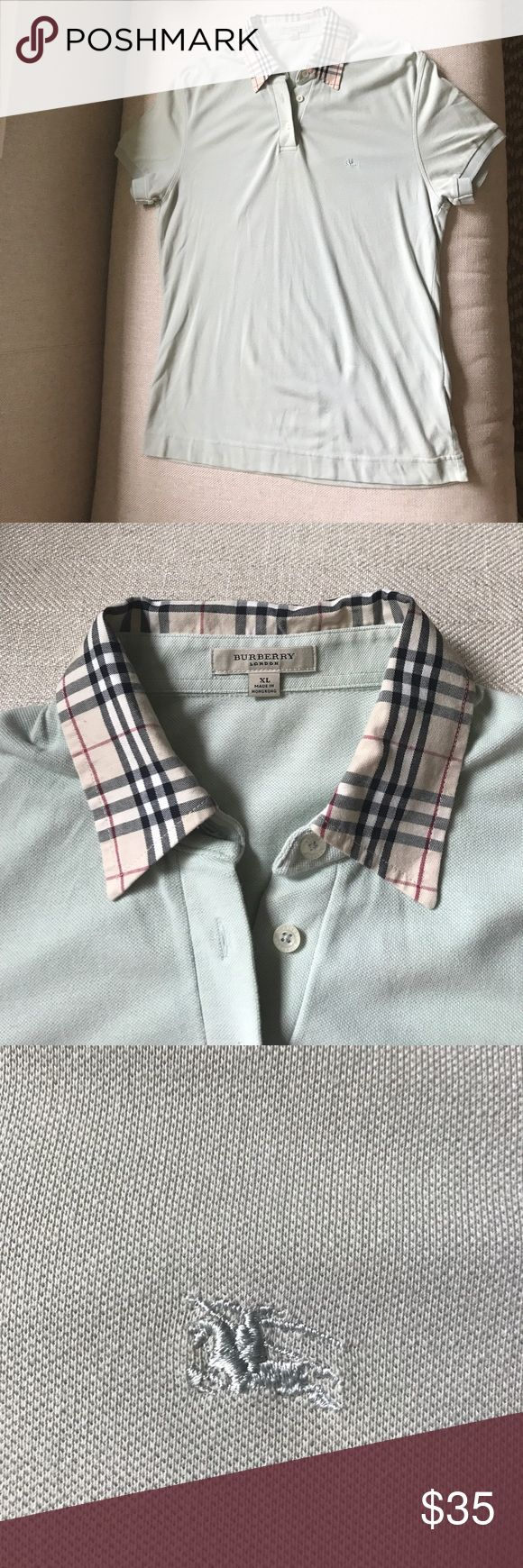 Burberry women's icon collared oxford shirt Classic piece for any wardrobe! Three buttons and classically styled Burberry print collar. The shirt is a mint green color that looks fabulous with white jeans or shorts or bluejeans. You can even dress it up. Burberry Tops Button Down Shirts