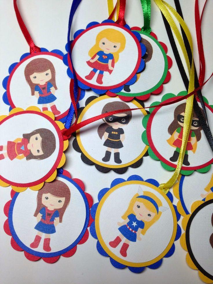 Girl Superhero Favour Tags