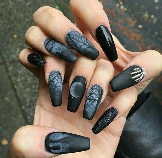 Gothic lolita nail art gallery. View Images Dark ... - Acrylic Nail Designs Gothic ~ Dusk Grey Fake Nails False Acrylic
