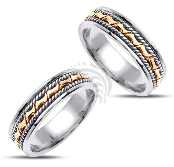 Two Tone White Yellow Gold Polish Matching Wedding Rings 02392