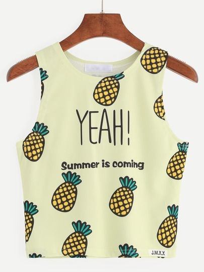 Top piña crop tank -amarillo