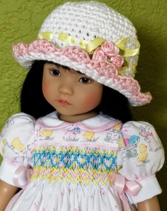 "OOAK Smocked Easter Dress for Effner Little Darling 13"" Doll by ForYourDoll #ForYourDoll"