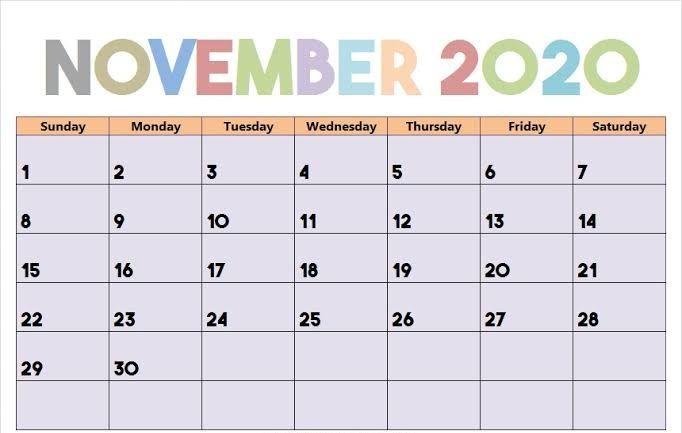 Cute November 2020 Calendar Make a Plan For Celebration ...