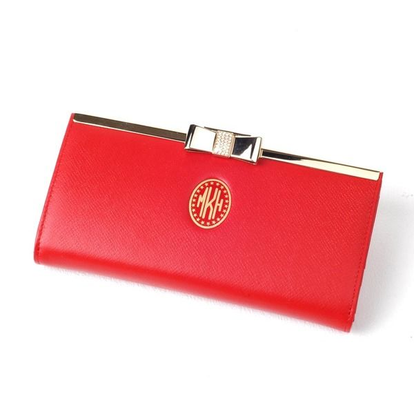 RED - Leather Long Purse w/t metal gold ribbon from mozzin by DaWanda.com