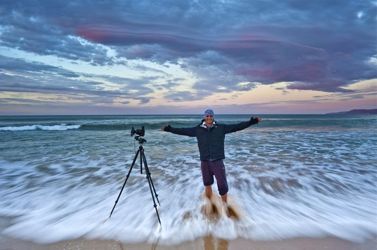 Shaun braving the freezing winter waters at Aireys Inlet, Victoria, Australia. (Photo by Kelvin).