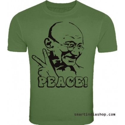 Gandhiji always loves and follows Peace India design printed nice Green colour cotton tshirts online for independence day , independence day special t shirts
