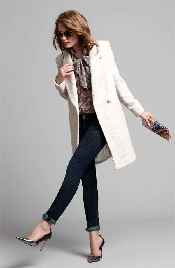tahari coat, bellatrix shirt + j brand skinny jeans  I love the idea of mixing jeans with heels and a nice coat with a printed blouse. Interesting but not too busy, perfectly comfortable and appropriate for work. Total genius.