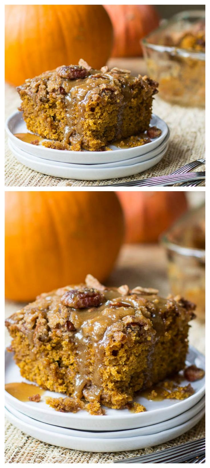 Pumpkin Coffee Cake with Brown Sugar Glaze
