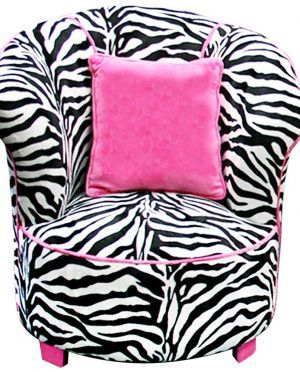 Comfortable Black And White Zebra Print Saucer Chair With Curved Shaped Back Rest Complete With The Soft Arm Side And Low Style Wood Legs And Square Shaped Cute Pink Cushions