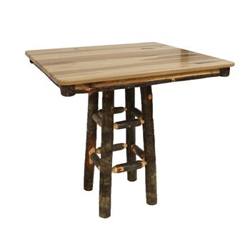 Bark On Hickory 42 Square Pedestal Bar Height Table