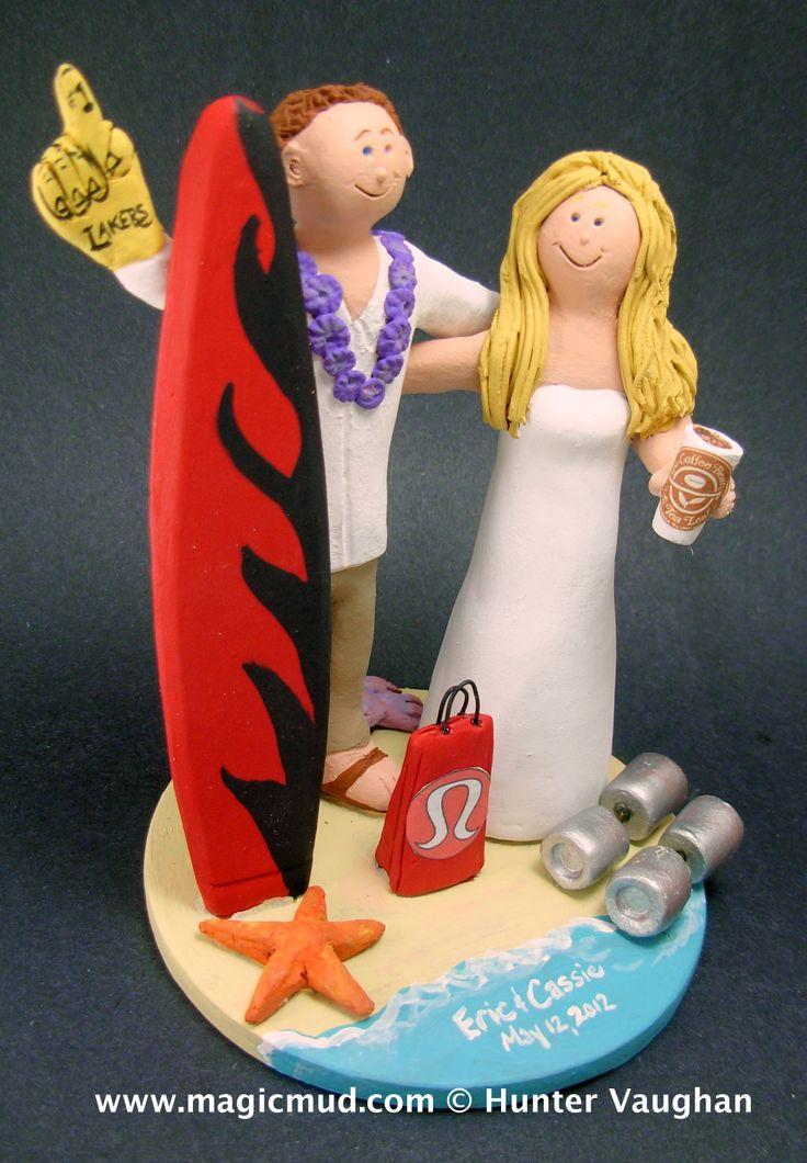 Lakers Groom Marries Lululemon Bride Wedding Cake Topper http://www.magicmud.com   1 800 231 9814  magicmud@magicmud.com  http://blog.magicmud.com  https://twitter.com/caketoppers         https://www.facebook.com/PersonalizedWeddingCakeToppers $235  #lakers#lululemon#surfer#surfing#surf#ocean#wave#beach#longboard#catch-a-wave#waveRider
