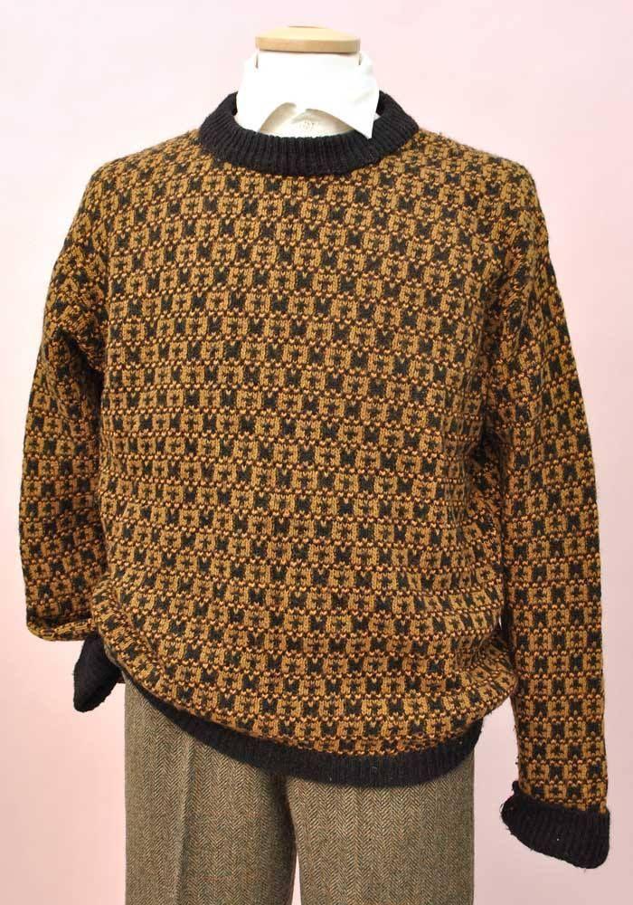 20cfcad359b 1980s Men s Vintage Mustard Black Wool Sweater • Dad Jumper – Top Notch  Vintage