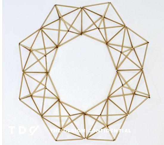 Handmade Holiday Decor: DIY Faux Brass Himmeli Wreath | The Design Confidential