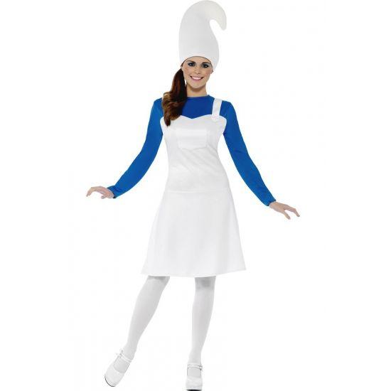 Blauw kabouter pakje voor vrouwen  Blauwe kabouter kostuum voor dames. Dit leuke complete kostuum bestaat uit een jurk een strakke stretch top en een muts.  EUR 27.95  Meer informatie
