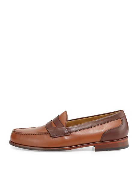 Cole Haan Fairmont Penny II Two-Tone Leather Loafer, British Tan/Papaya