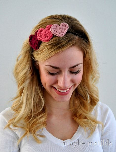 Make a Crochet Heart Headband for Valentine's Day