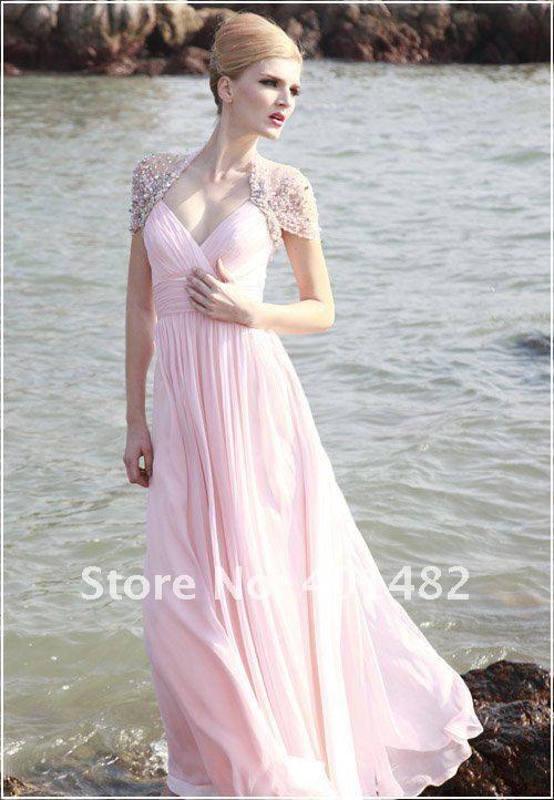 Freies Verschiffen Elegantes Flügelärmeln Strand mit V-ausschnitt Perlen Chiffon Abendkleid //Price: $US $111.20 & FREE Shipping //     #eveningdresses