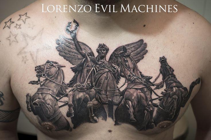Realistic Tattoo by Lorenzo Evil Machines, Roma Italia - Quadriga Romana - Libertà Cavalli Winged Victory - Realistic Black and Gray Tattoo by Lorenzo Evil Machines - Roma - tatuaggi realistici e ritratti 3D