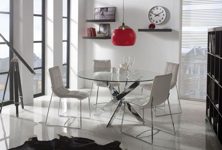 mesas de comedor redondas patas cruzadas
