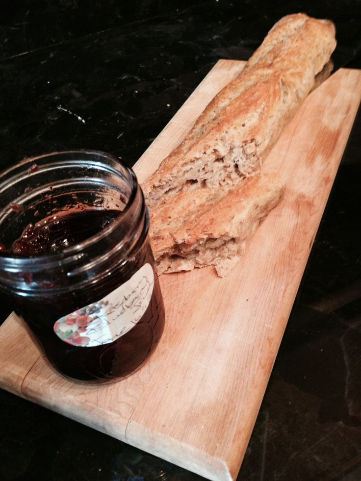 Homemade Multigrain French Baguettes with my Blueberry Lime Jam Preserve.