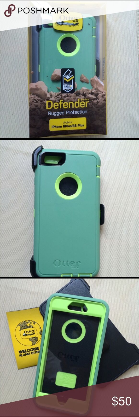 iPhone 6/6s plus otter box Like new iPhone 6/6s plus otter box defender case with holster clip and built in screen protecter. Only used a week and still have package. OtterBox Accessories Phone Cases