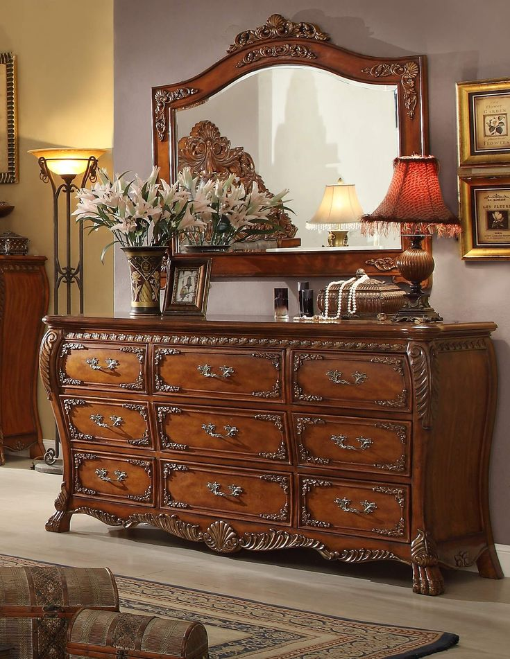 Victorian Style Dresser with Mirror | Homey Design HD-20131 Victorian Dresser & Mirror