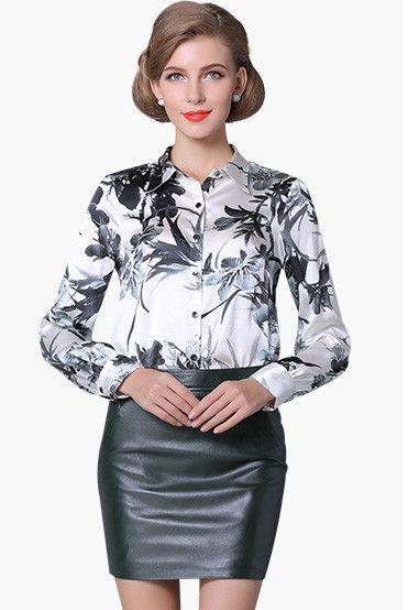 Pure Mulberry Silk Blouse Women Long Sleeve Work Brand
