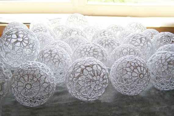 Holiday Lights, Party Lighting, Bedroom Decor lamps, Fairy Lights, String Lights, 20 White Lace Crocheted balls, garland light on Etsy, $35.53 AUD