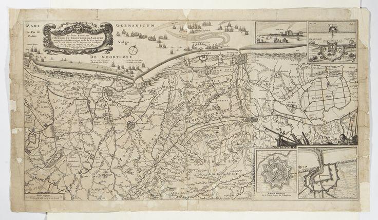 Karta över del av norvästra Frankrike vid Nordsjökusten (dåvarande Sydflandern). Från 1640-talet./ Map of north west France by the Northern Sea. From ca 1640.