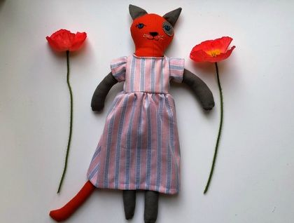 Cat Doll Tortoise Shell in a Dress, named Shelley