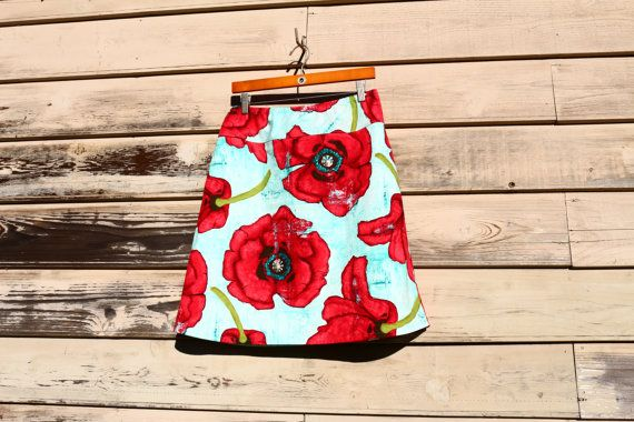 Aqua and Red Poppy Skirt Painted Poppy Big Poppy by SewingBySelena, $48.00