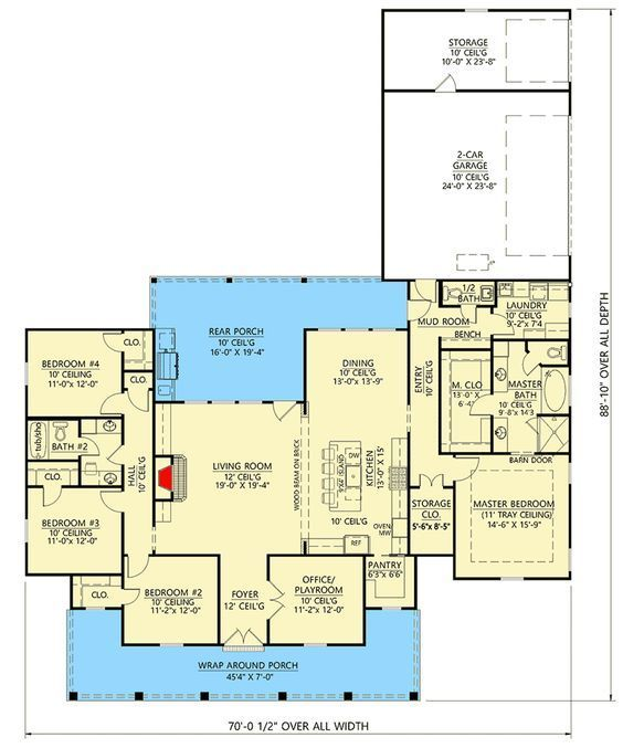 Plan 56432SM: Desirable One-Level Farmhouse Plan with Ample Storage Space