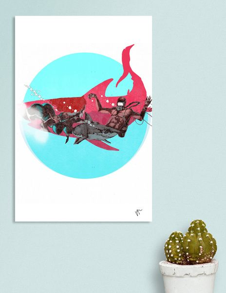 Discover «Shark-Hunter-C», Limited Edition Canvas Print by VICTOR ABARCA LIZANA - From $75 - Curioos