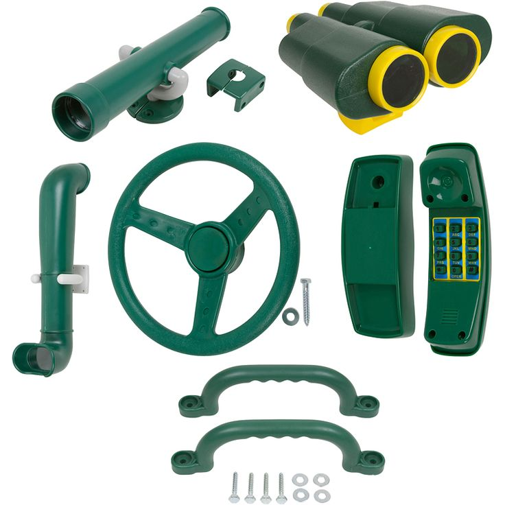 """This kit includes our periscope, telescope, binoculars, telephone, 1 set of 10"""""""" handles and our deluxe St. wheel. It comes in blue, green, and yellow."""