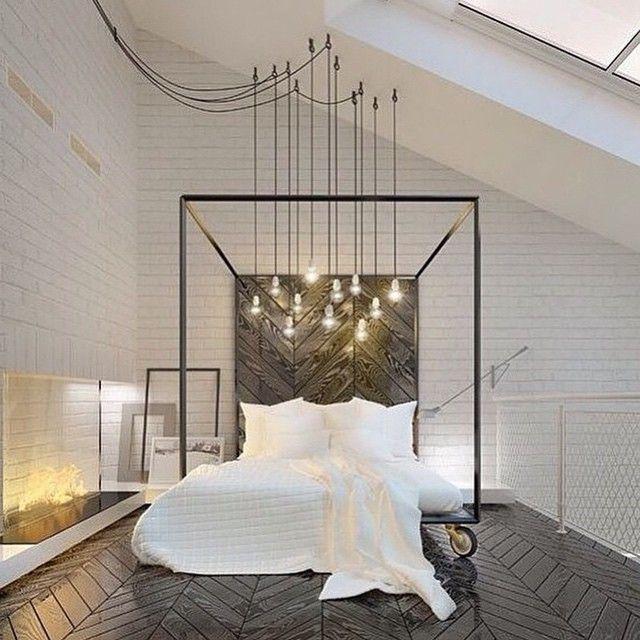 dream bedroom edison lights chevron espresso wood floors metal rectangular headboard