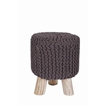 WOOOD kruk gebreid Lynn 35x45 cm grijs, alles voor je klus om je huis & tuin te verfraaien vind je bij KARWEI