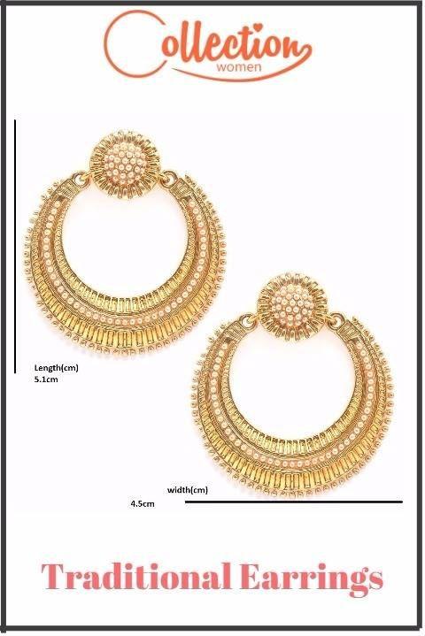 Traditional Earrings With Gold Plated [http://bit.ly/2rmlJpk?utm_content=bufferca0df&utm_medium=social&utm_source=pinterest.com&utm_campaign=buffer]  #earrings #collectionwomen #fancy #womenearrings #designerearrings {http://bit.ly/2rmlJpk?utm_content=bufferca0df&utm_medium=social&utm_source=pinterest.com&utm_campaign=buffer}