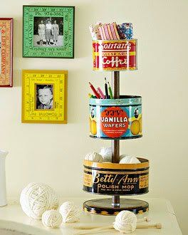 Love the tiered tins and the rulers used as matting inside plain picture frames!--Orsa Maggiore Vintage