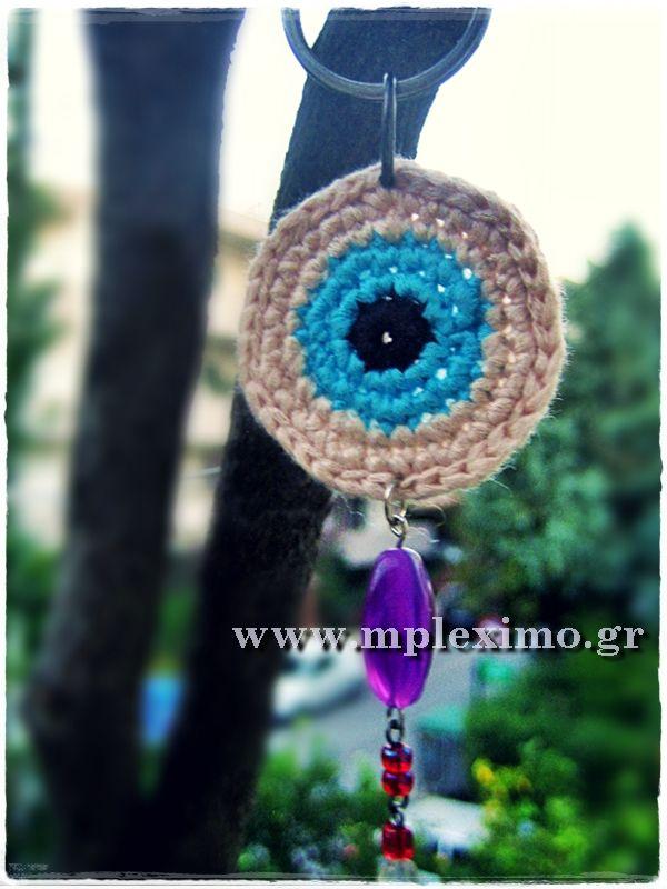 crochet evil eye key ring